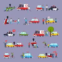 Conjunto de ícones de acidente de viação vetor