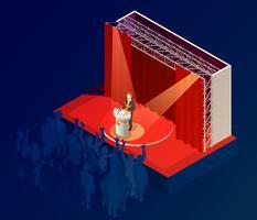 Cartaz isométrico do anúncio do vencedor do prêmio da música