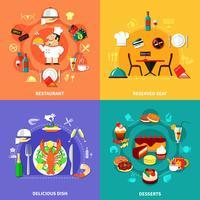 Conjunto de composições de comida vetor