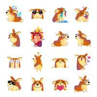 Conjunto de ícones engraçado dos desenhos animados de cão Corgi