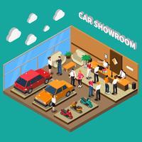 Ilustração isométrica de sala de exposições de carro