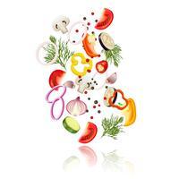 Conceito de legumes fatiados
