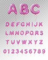 Composição transparente realista de alfabeto de balão