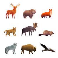 Conjunto de ícones poligonais animais selvagens do Norte vetor