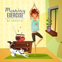 Composição de desenhos animados de exercícios de manhã