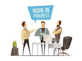 Projeto do estilo dos desenhos animados da reunião de trabalho