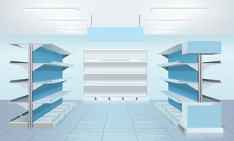 Design de prateleiras de supermercado vazio