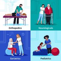 Fisioterapia Reabilitação 4 Flat Icons Square