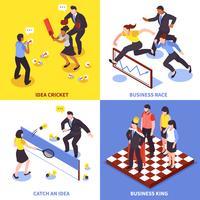 Conjunto de ícones de negócios de concorrência
