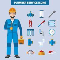 Conjunto de ícones de serviço de encanador