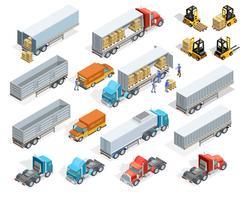 Conjunto de elementos isométricos de transporte vetor
