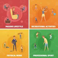 Conjunto de composições de atividade física vetor