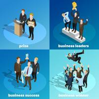 Líderes de negócios ganhando 4 isométrica ícones
