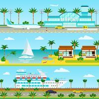 Banners de férias de cruzeiro de verão vetor