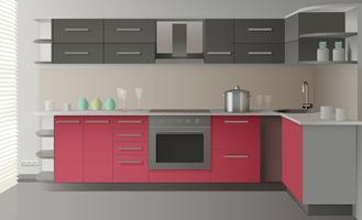 Interior moderno da cozinha vetor