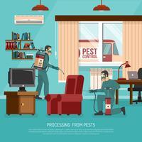 Cartaz liso da propaganda do tratamento interior do controlo de pragas vetor