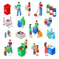Conjunto de elementos de reciclagem de lixo vetor