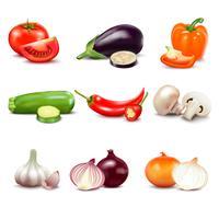Legumes crus isolados ícones vetor