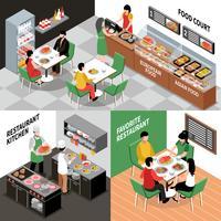 Conjunto de composições de restaurante interior vetor