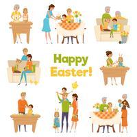 Feliz Páscoa Família Set vetor