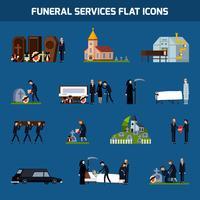 Conjunto de ícones plana de serviços de funeral