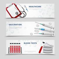 Conjunto de Banners médicos de vacinação vetor