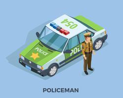 Modelo isométrico de profissão de polícia vetor