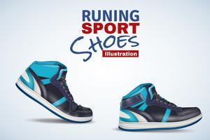 Ilustração de calçados esportivos em execução vetor