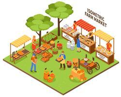 Ilustração do mercado de comércio justo