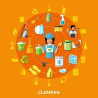 Ferramentas de Limpeza Composição Redonda vetor