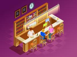 Amigos no Bar Interior Isometric View vetor