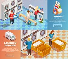 Banners de limpeza a seco isométrica de lavanderia