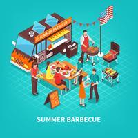 Ilustração isométrica de churrasco de verão