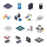 Conjunto de ícones de componentes semicondutores vetor