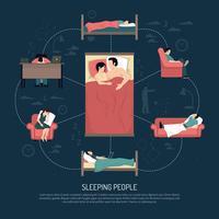 Ilustração em vetor de pessoas a dormir