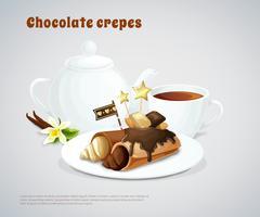 Composição de panquecas de chocolate vetor