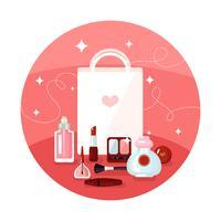 Conceito de cosméticos redondo