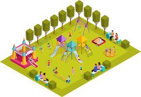 Parque Infantil Isométrico vetor