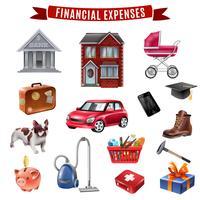 Coleção de ícones plana de despesas familiares