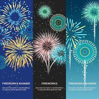 Banners verticais festivas abstratas de fogo de artifício
