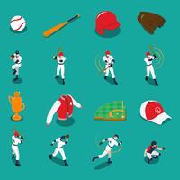 Conjunto de ícones isométrica de beisebol vetor