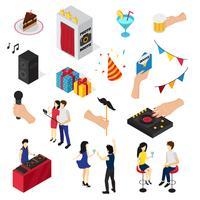 Coleção de ícones isométrica de festa
