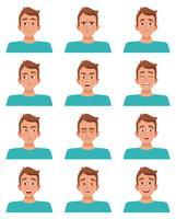 Conjunto de expressões faciais masculinas vetor