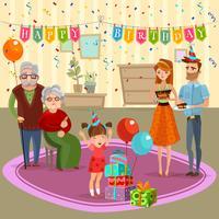 Ilustração dos desenhos animados da celebração da casa do aniversário da família vetor