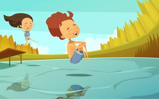 Ilustração dos desenhos animados com crianças pulando no lago