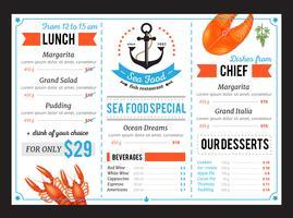 Projeto do molde do menu do restaurante do alimento de Sta vetor