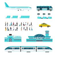 Transporte de pessoas e conjunto de ícones do Aeroporto