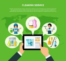 Conceito de aplicação on-line de limpeza vetor