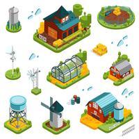 Conjunto de elementos de paisagem de fazenda