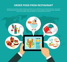 Conceito de comida pedidos on-line vetor
